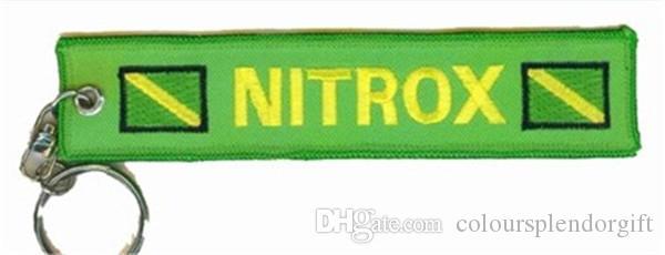 Tüplü Dalış Diver Anahtarlık Banner Anahtarlık Yeşil Nitrox Scuba Profesyonel Dalış Diver Anahtarlık 13x8.5 cm 100 adetgrup