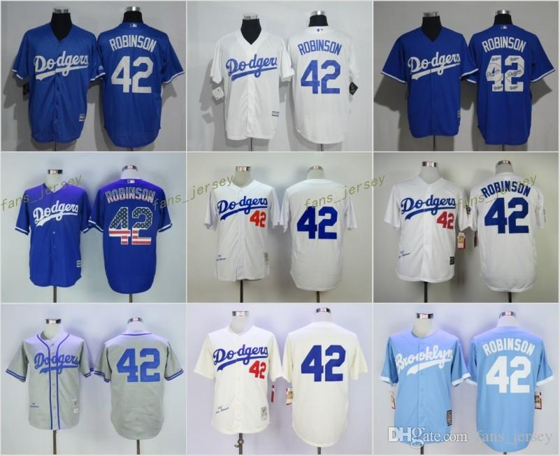 788bca072 ... Cool Base Player Jersey 2017 Flexbase Los Angeles Dodgers 42 Jackie  Robinson Home Away Baseball Jersey Light Blue White Grey .