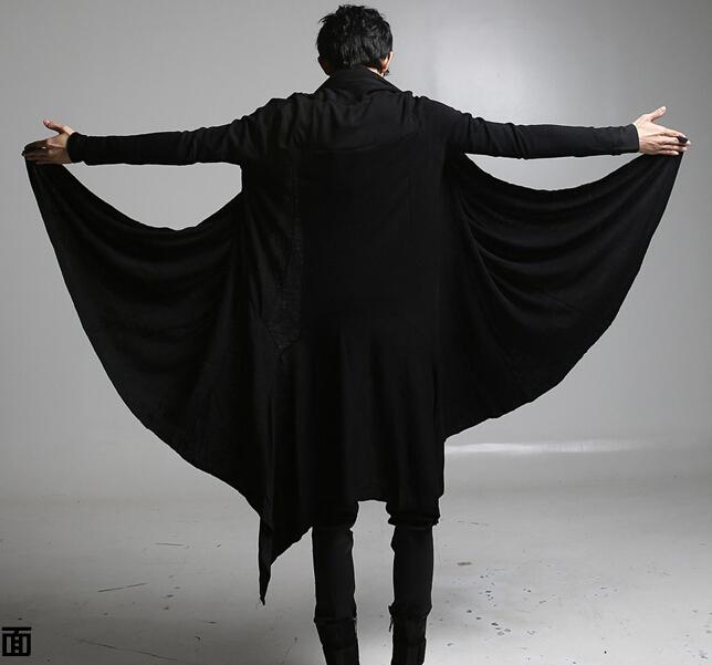 new cool punk gothic t shirts men long sleeve loose black color for halloween costumes cape cape long coat cardigan jacket from zhangwenrui