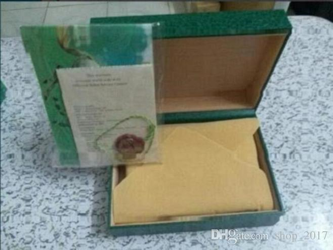 Kostenloser versand Luxus uhr Mens Für rolex Uhrenbox Ursprüngliche Inner Outer Womans Uhren Boxen Männer Armbanduhr Grüne box broschüre karte