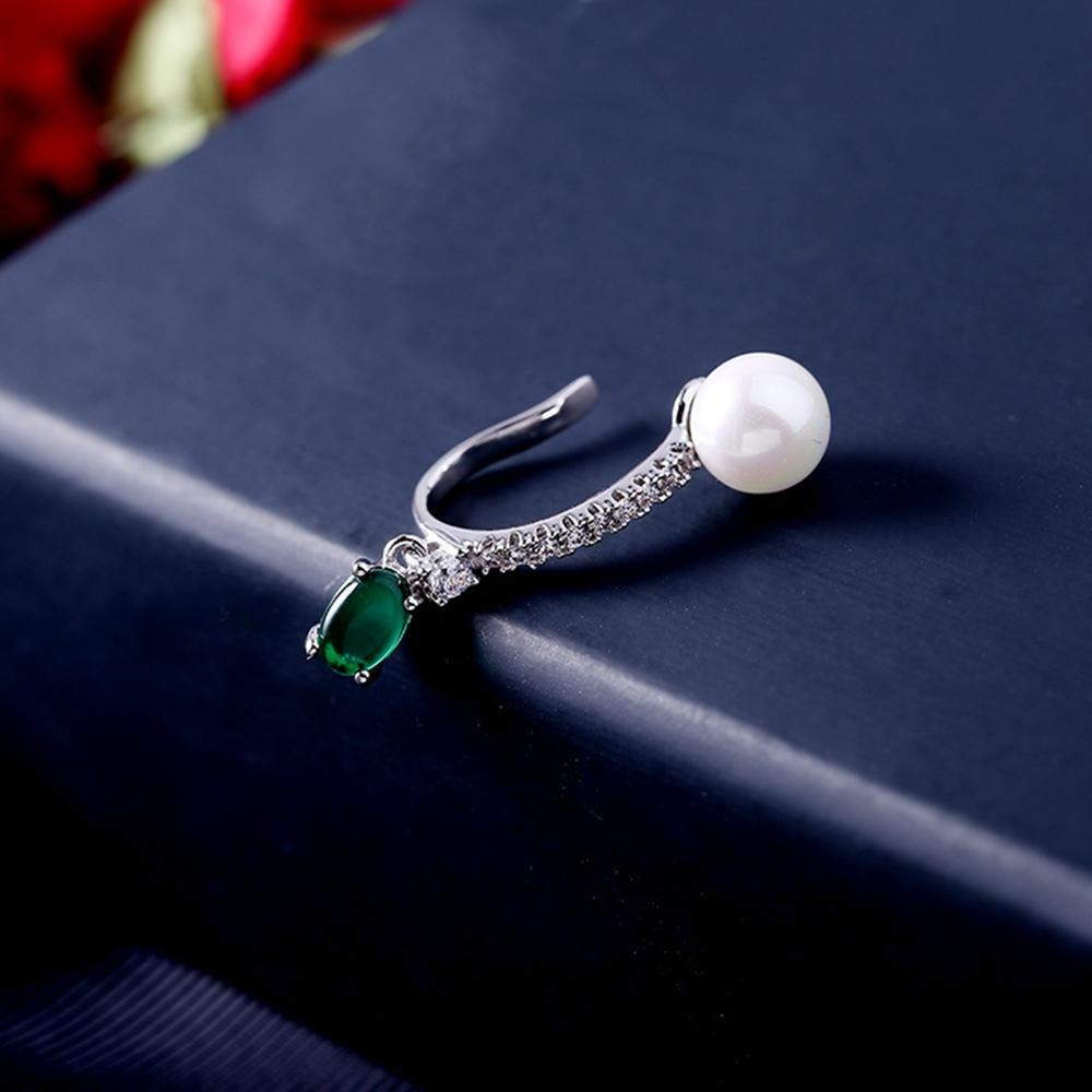 MIGGA White Gold Color Imitation Pearl Created Emerald Ear Cuff Clip Earrings for Women No Pierced