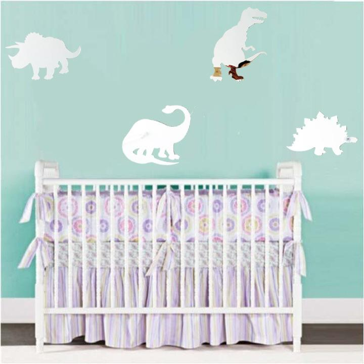 3d Dinosaur Pattern Acrylic Mirror Wall Sticker Living Room Bedroom Kids Baby Decorative Decals For Adults