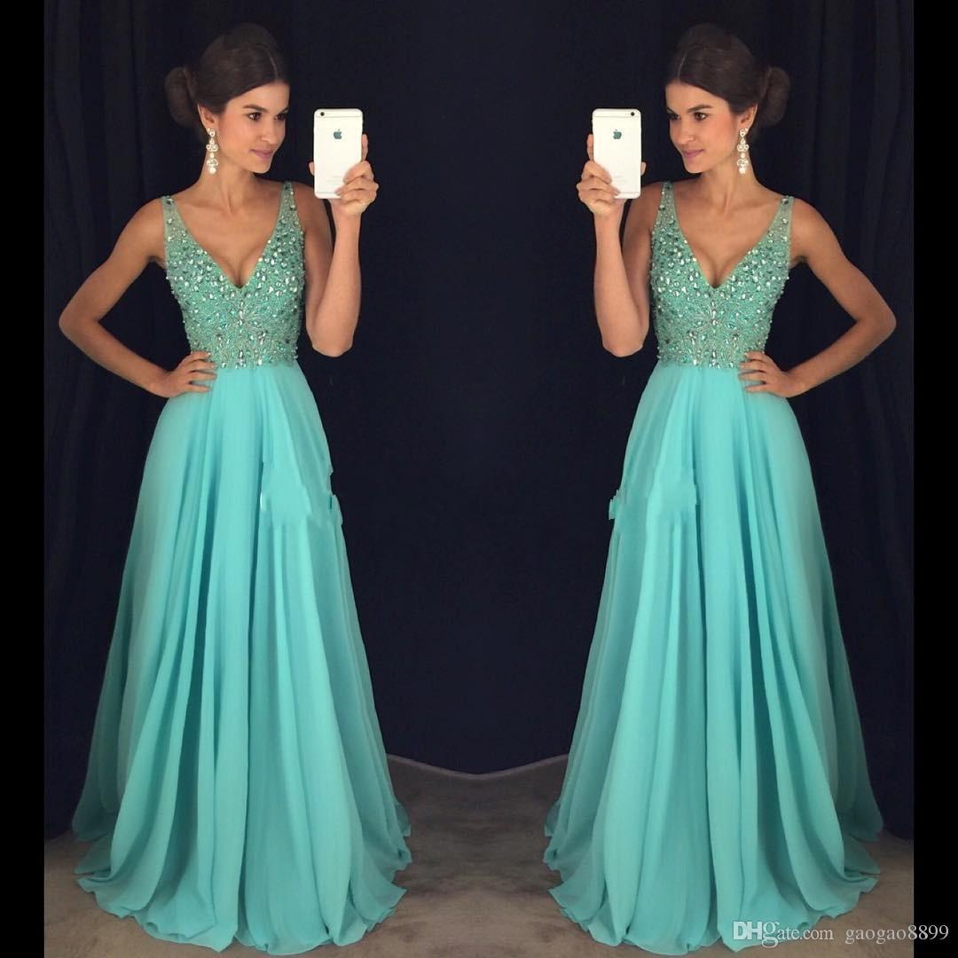 2017 Secy Prom Evening Dresses A Line Sexy Deep V Neck Major ...