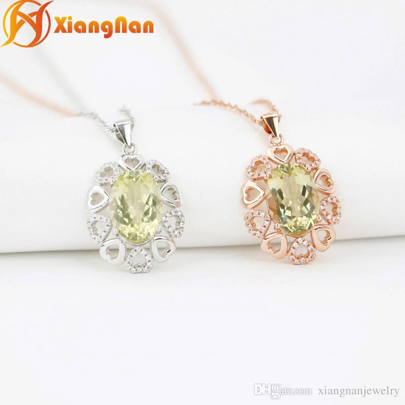 Newly natural citrine crystal pendants lemon crystal necklaces pure newly natural citrine crystal pendants lemon crystal necklaces pure silver oval shape crystal necklaces jewelry gifts fn003 natural citrine yello crystal aloadofball Gallery