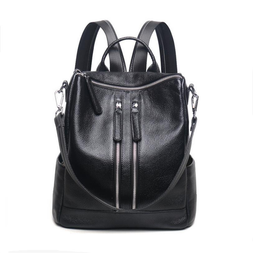 03dfccea496f Wholesale Black Leather Backpack Laptop Bag Womens Genuine Leather Backpacks  For Teenage Girls Bagpack Travel Backpack Women Shoulder Bag School  Backpacks ...