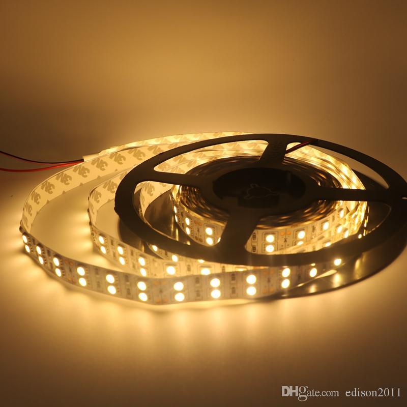 Edison2011 5050 5M 600LEDS dubbele rij led strips licht niet waterdicht warm / puur wit RGB LED-verlichting 8400 lumen DC 12V flexibel