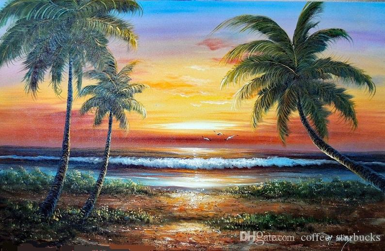 Framed Island Beach Sunset Surf Hawaii Palms,Pure Hand-painted Seascape Art Oil painting On Thick Canvas,Multi sizes,Free Shipping J031