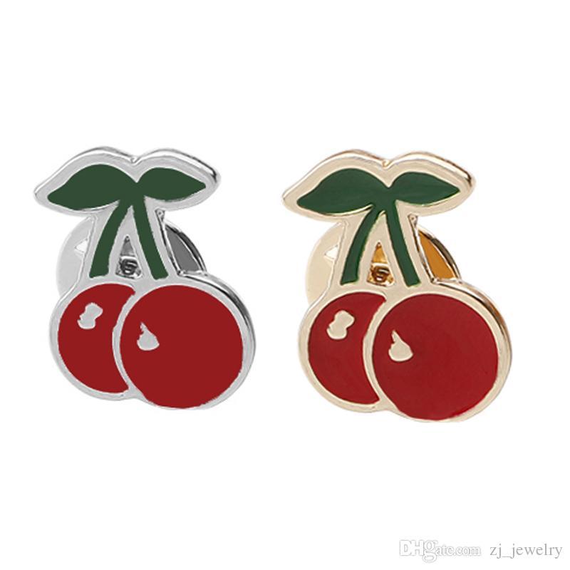 Trendy Frauen Fruit Red Cherry Taste Emaille Brosche Corsage Kleid Hüte Schal Clips Pin Hochzeit Party Schmuck Abzeichen zj-0904505