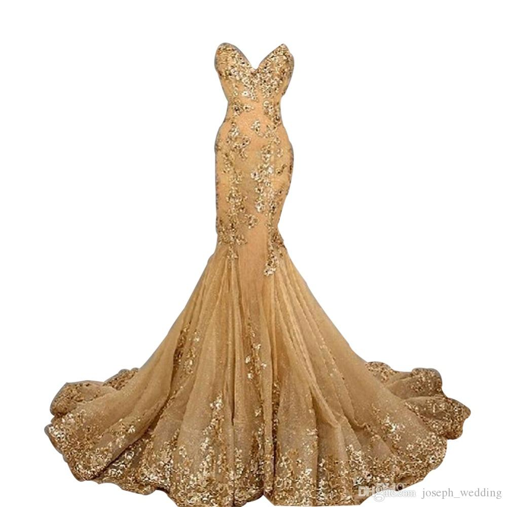 2017 vendita calda alla moda oro del merletto vestito da promenade della sirena appliques abiti da sera celebrità lunghi vestidos de formatura noiva