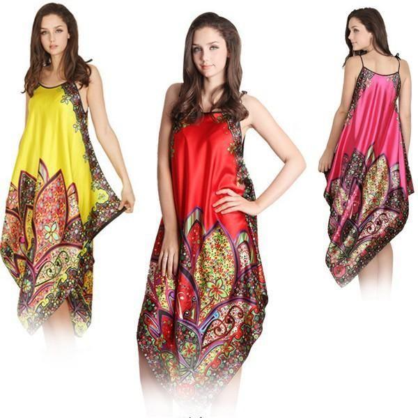 2019 Sexy Women Imitated Silk Sleepwear Robes Dress Night Skirt Nighty  Nightgowns Hot Color Rose Red Yellow From Akaya 237054dca