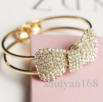 Schmetterlingsbögen öffnen Armband-Armband-Impuls-Diamant-Armband-Handfrauen-volles bohrendes Tendenz-Weinlese-Schmuck-Zusatz-Weihnachtsgeschenk