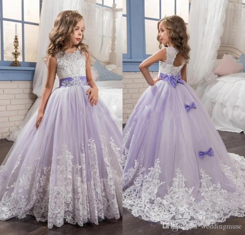 2019 Beautiful Flower Girls Dresses Purple And White Girls Pageant Dress  Beaded Lace Appliqued Bows Pageant Gowns For Kids Wedding Party Flower Girl  Dresses ... fe0b310f7