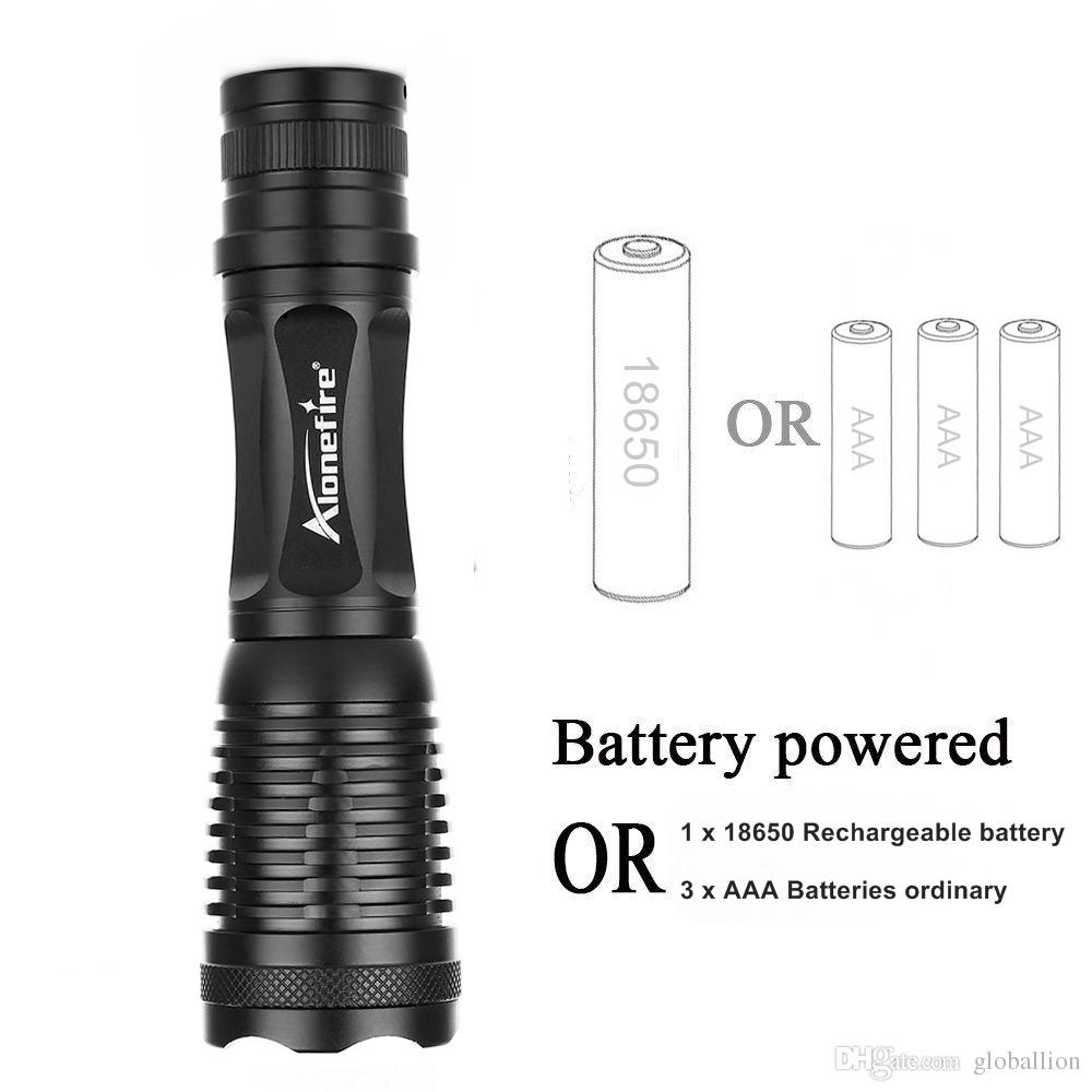 Alonefire E007 CREE XM-L T6 Tactical Flashlight 3800Lumens LED Zoomable Flashlight torches LED Lamp Light For 3 Dry cell ro 18650 battery