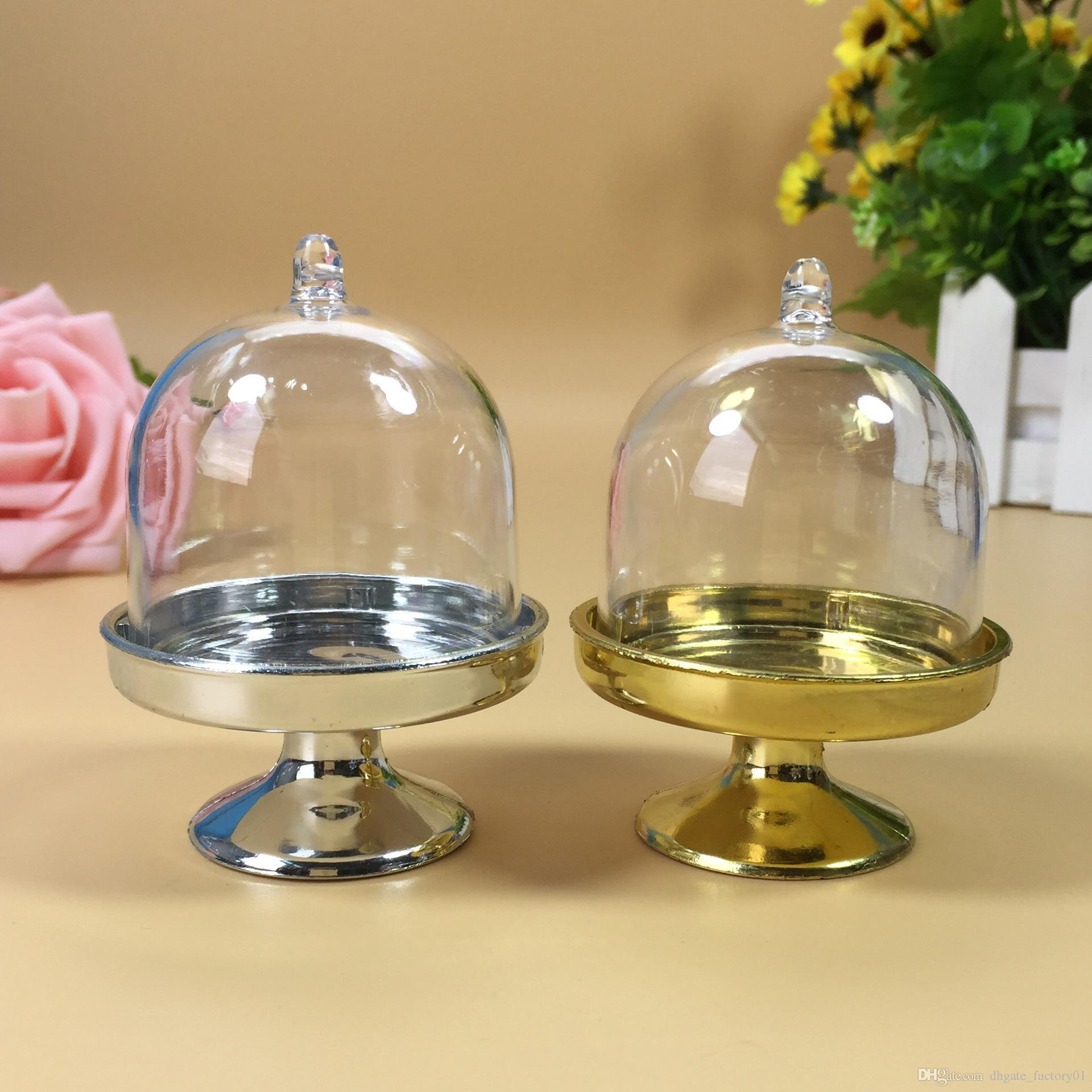 Gold Silver Mini Cake Stand Plastic Wedding Favor Boxes Cake Boxes ...