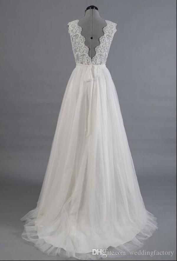Wspaniała Linia Plaża Suknie Ślubne Tanie Wysokiej Jakości V Neck Western Wedding Dress Lace Top Handmad Kwiaty Sash Tulle Spódnica Suknia Bridal
