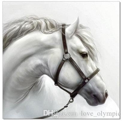 Framed Horse Grey White Stallion,100% Handcraft Animal Art Oil ...