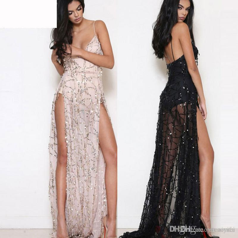 1fcacc874a9 Black Sequins Sexy Dresses Summer V-Neck Backless Dresses Womens ...