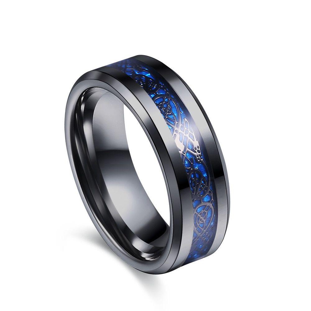 Black Diamond Wedding Bands For Men | Blue Groove Black Tungsten Carbide Dragon Ring Men Engagement Rings