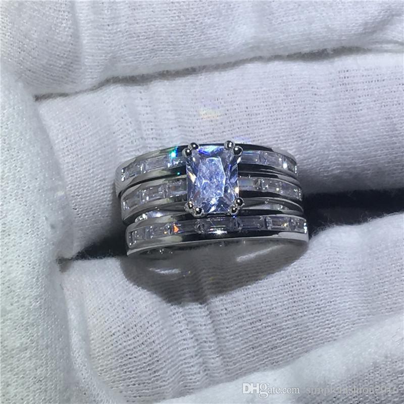 2017 Mode anneau Princesse cut 5A zircon cristal Or blanc rempli Fiançailles de mariage bagues pour femmes hommes Bijoux