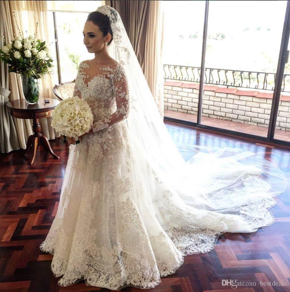 Discount Vestido De Noiva 2017 Simple But Elegant Detachable Train Lace Wedding  Dresses Long Sleeve Tulle Mermaid Muslim Wedding Gowns Aline Dress Big ... 012fe5fec03f