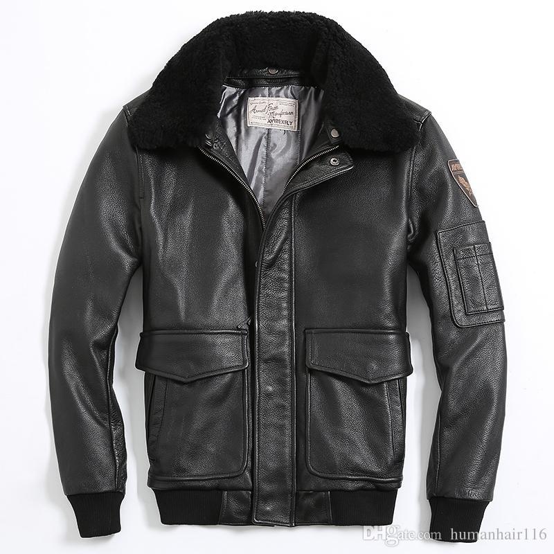2017 2016 Men Brown Air Force Flight Leather Jacket Wool Collar ...