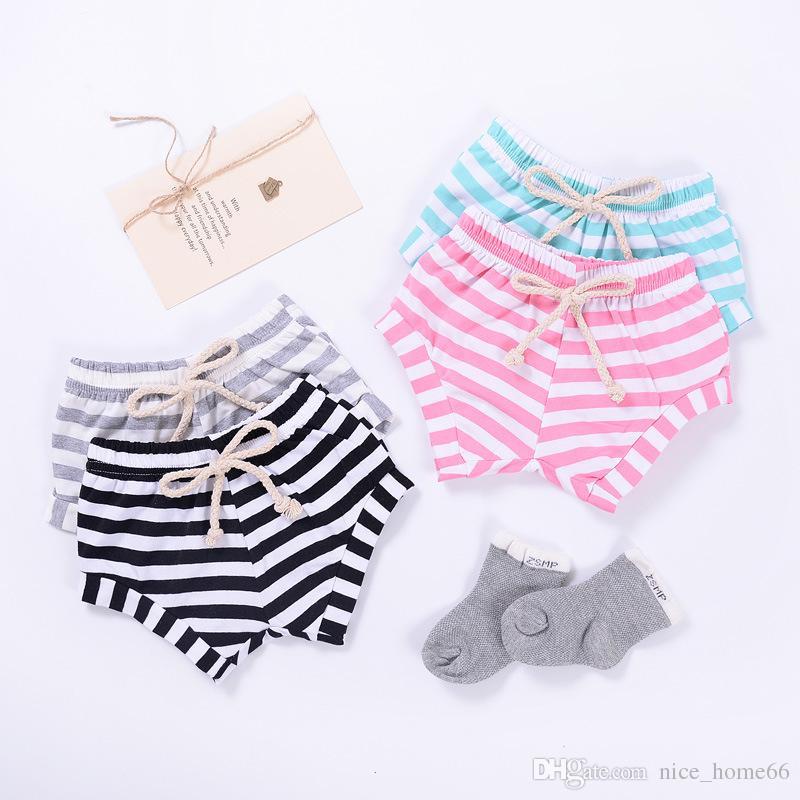 Moda BoysGirls Çizgili Katı Desen PP Şort Bebek Erkek Kız Pantolon Mini Şort Ekmek Şort Bebek Yaz Giyim