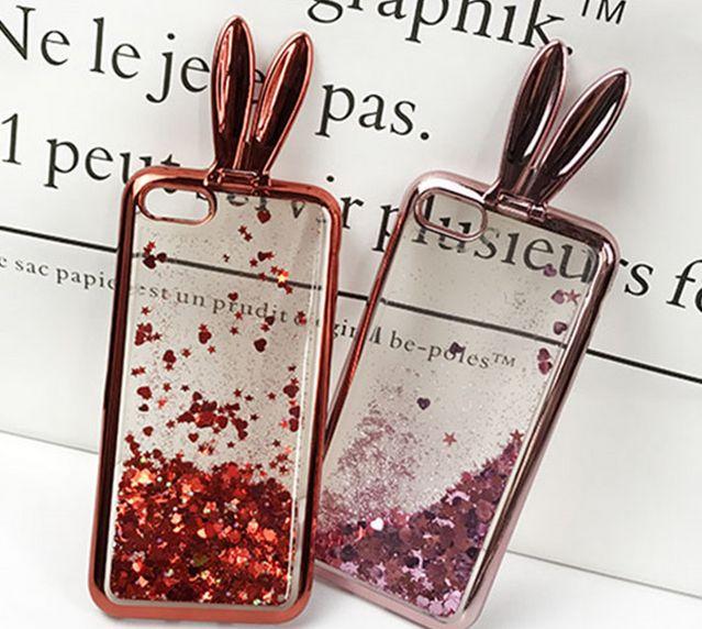 3D Cute Rabbit Ear Glitter Liquid Quicksand Stander TPU Case sparkle COVER For iPhone 7 7plus 5 6 6plus samsung s7 edge S8 PLUS J7