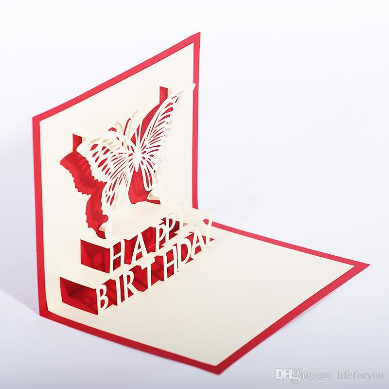 Decorações da festa de aniversário crianças cartões de aniversário favores da festa de aniversário 3D pop up cartões de cartão de 12 estilos por lote