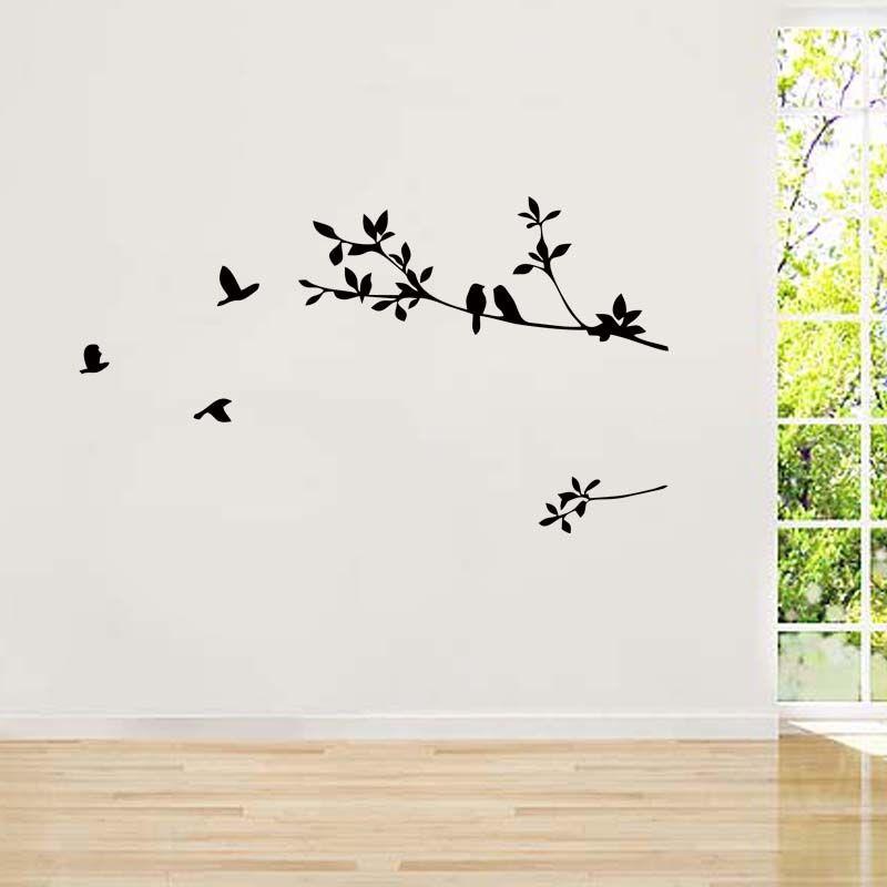 Birds On Tree Branch Wall Decals Vinyl Sticker Removable Decor Kids Nursery Art Mural Bedroom Sitting Room Diy