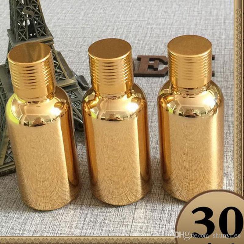 Envío rápido oro botella de aceite de alta calidad botella de vidrio venta al por mayor 30 ml botella cápsula contenedores de maquillaje vacíos F2017842
