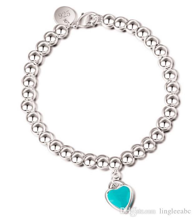Sıcak satış Charm Bilezikler S925 Gümüş kadınlar ve gündüz hediye takı için emaye grenn pembe kalp ile zincir bilezik boncuk