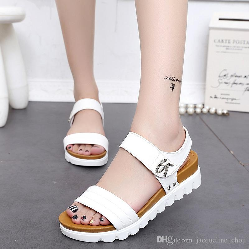 fd691d497499 Women Platform Sandals Fashion Open Toe White Wedge Summer Sandals  Comfortable Beach Shoes 666 Size 35 40 Sandals For Girls Chaco Sandals From  ...