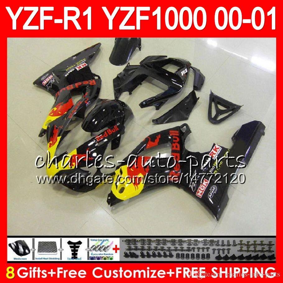 Carrocería para YAMAHA YZF1000 YZF 1000 YZFR1 00 01 98 99 74NO27 TOP Rojo negro R 1 YZF-R1000 Carrocería YZF-R1 YZF R1 2000 2001 1998 1999 Juego de carenado
