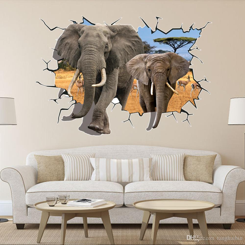 Removable 3d elephant wall stickers animal series self adhesive removable 3d elephant wall stickers animal series self adhesive wallpaper sticker 6090cm size vivid living design opp bag packing wall decoration stickers amipublicfo Choice Image
