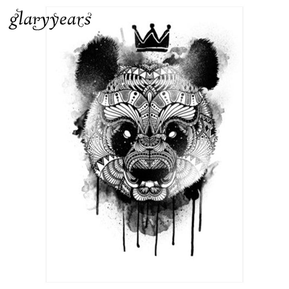 Wholesale black decal waterproof tattoo panda king pattern sticker design km 052 cool women man inspired body art temporary tattoo customized tattoos face