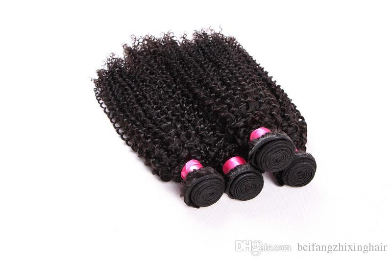 8a grado jerry curl remy tessuto dei capelli 1b # colore naturale 100 g / pz 3 pz / lotto malese vergine estensione dei capelli umani doppia trama dhl spedizione gratuita