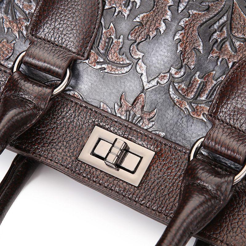 New Womens Shoulder Bags Oil Wax Cowhide Genuine Leather Floral Embossing Handbags Vintage Crossbody bags Messeanger bag