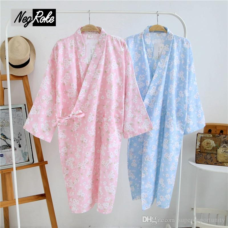 2018 New Summer Japan 100% Cotton Floral Women Kimono Robes Long ...