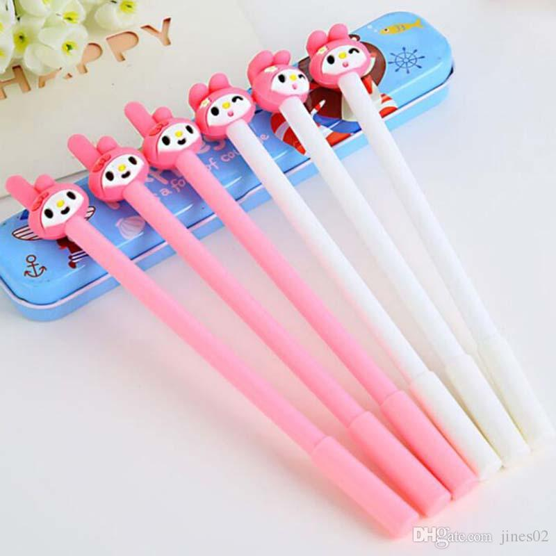 20pcs/Lot Cartoon Animal Pink Rabbit Shape Gel Pen Cute Pens for Writing Stationery Office Supplies School Kid Prize Party Pens Free Shippin