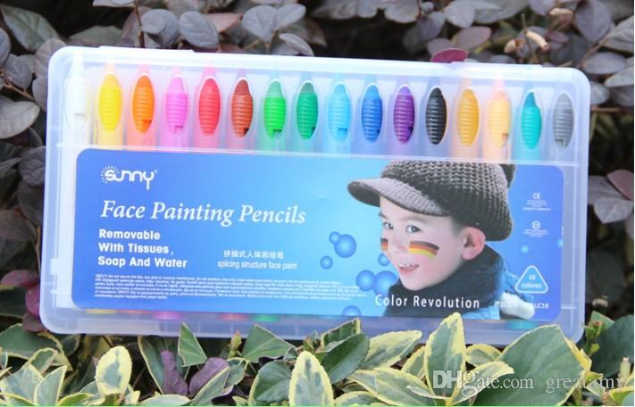 16 Renkler Yüz Boyama Kalemler Ekleme Yapısı Yüz Boya Mum Boya Noel Çocuklar Için Cadılar Bayramı Vücut Boyama Kalem Sopa Parti Makyaj