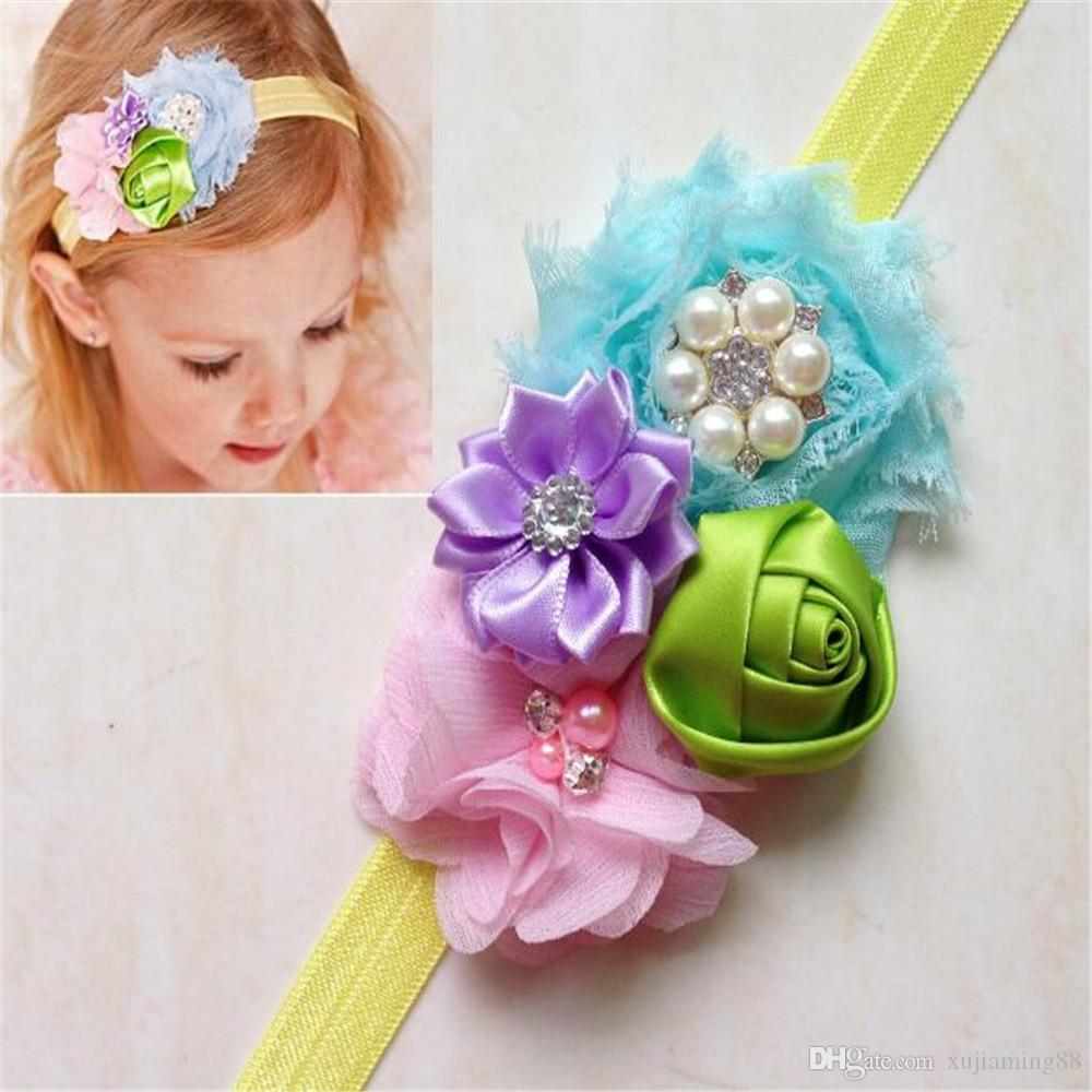 5 ADET Kombine Çiçek Yay Bebek Bebek Headbands Kız Hairband Şapkalar Çocuklar Bebek Fotoğraf Sahne NewBorn Bebek Saç bantları Aksesuarları