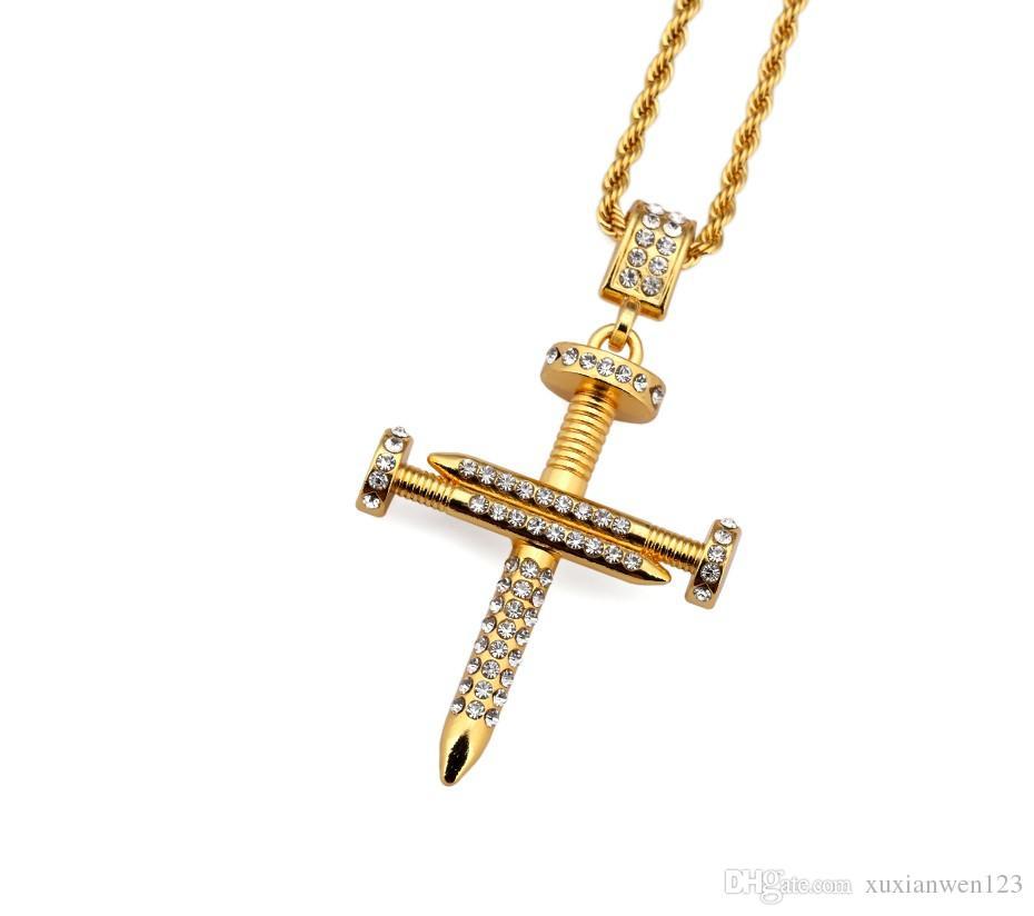 L'oro di personalità splicing Nail Wear collana ciondolo American Star Popolare Hip Hop gioielli di moda il regalo degli uomini delle donne