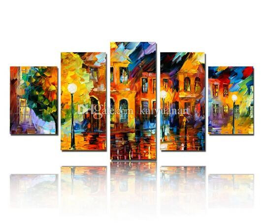 Hand Painted Modern Building Scenery Picture Art on Wall Abstract Canvas Oil Painting for House Wall Decoration No Frame