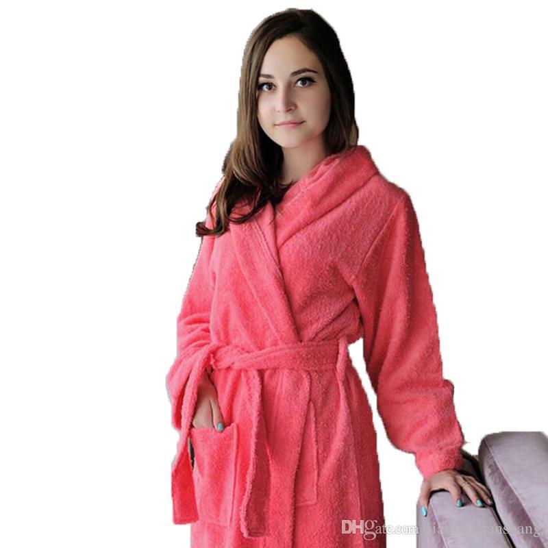 Roupão de banho com capuz de algodão mulheres homens sleepwear roupão de banho para as meninas cobertor toalha de lã espessamento amantes longos e macios outono inverno