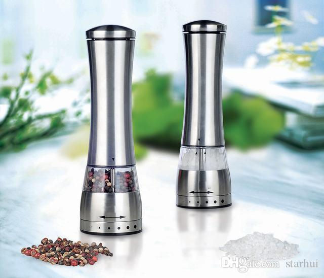 Stainless Steel Electric Salt Grinder Mill Salt And Pepper the grinder Kitchen Dining Bar Family Hotel Barbecue Tools WX9-102