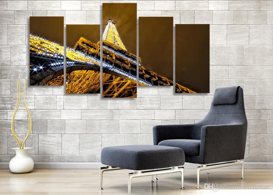 5 Pz / set con cornice HD stampato torre eiffel notte a parigi Pittura su tela decorazione stampa poster foto su tela con cornice Spedizione gratuita