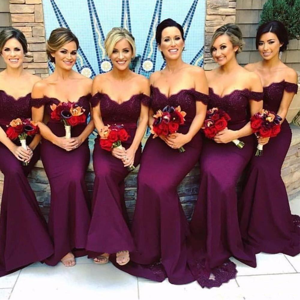 熱い販売の安いマーメイドの花嫁介添人ドレス2020肩のヴィンテージレースの長いメイドの名誉ガウンのフォーマル結婚式のゲストドレス