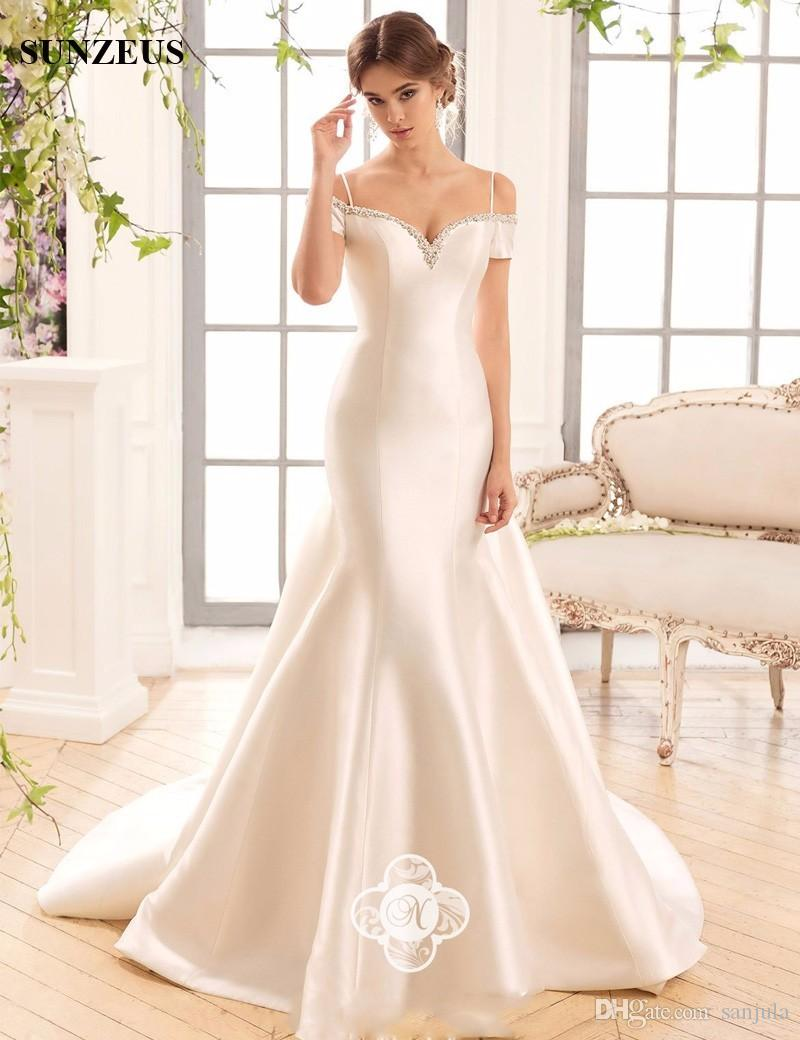 Mermaid Satin Wedding Dresses 2017 Short Sleeve Sparkly Beaded ...