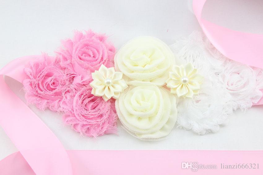Chic ceinture de maternité nouveau-né Photo Prop fleur filles mariée strass ceinture filles à la main fleur ceinture HJ121