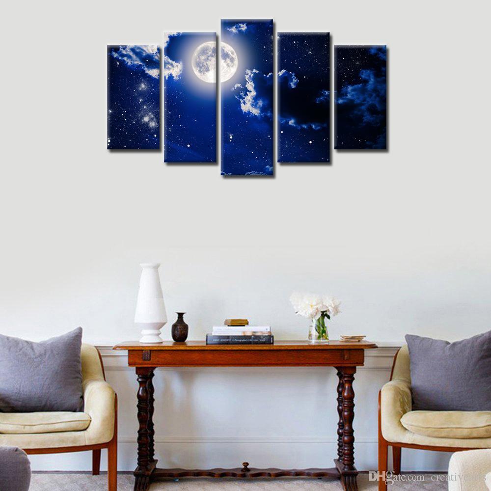 Full Moon Scenery HD Photo Art Prints Canvas Wall Decor Nature Landscape Painting Unframed20x40cmx2 20x50cmx2 20x60cmx2